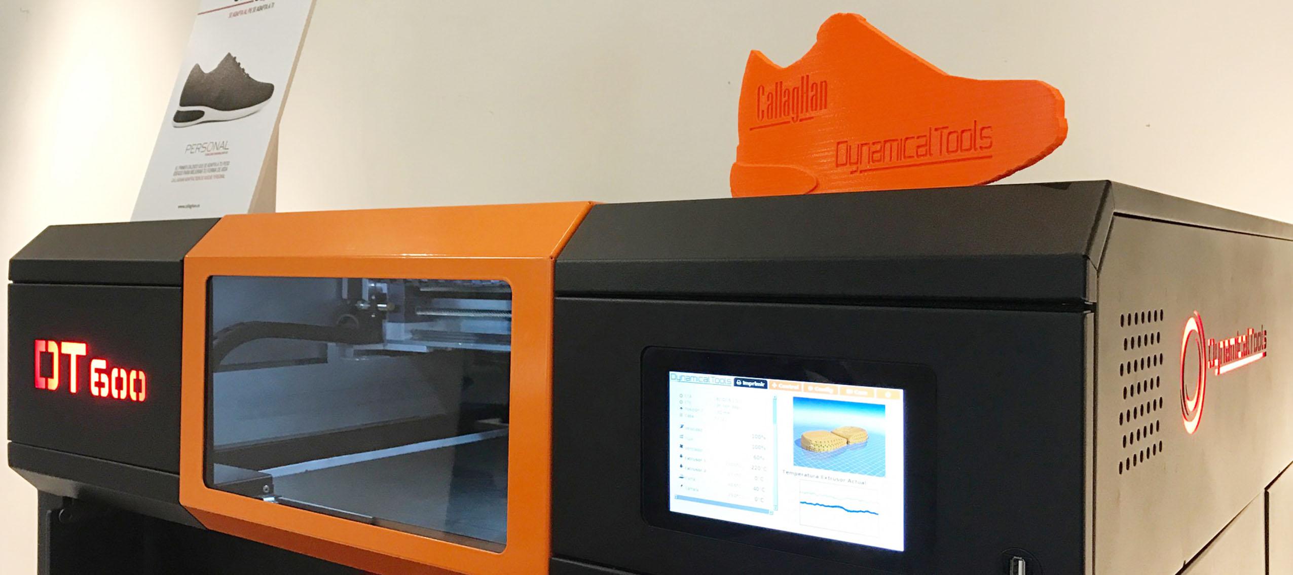 Callaghan utiliza la impresora 3D DT600 de Dynamical Tools en su última tecnología de calzado